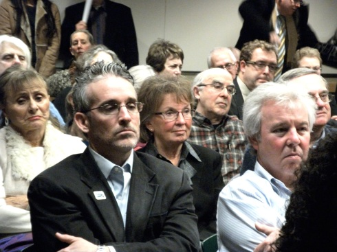 Ald. Vi Daley (center), who is not seeking re-election, was just another face in the crowd in the 43d Ward forum for candidates seeking to replace her. Photo by Jennifer Schanz